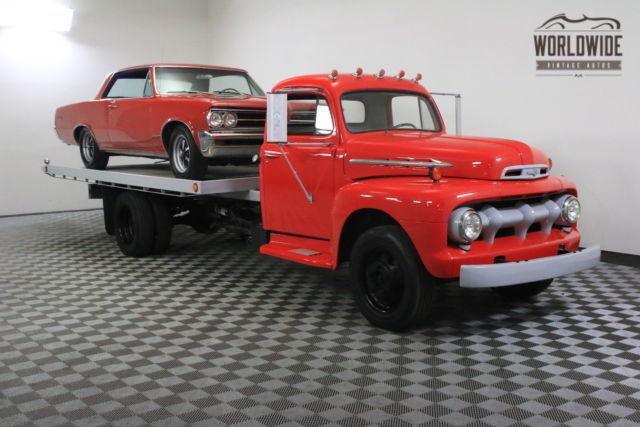 1950 red working flatbed rollback restored v8 for sale ford f1 working flatbed rollback. Black Bedroom Furniture Sets. Home Design Ideas
