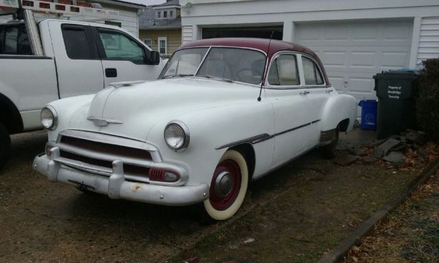 1951 chevy deluxe 4 door sedan white starts right up for