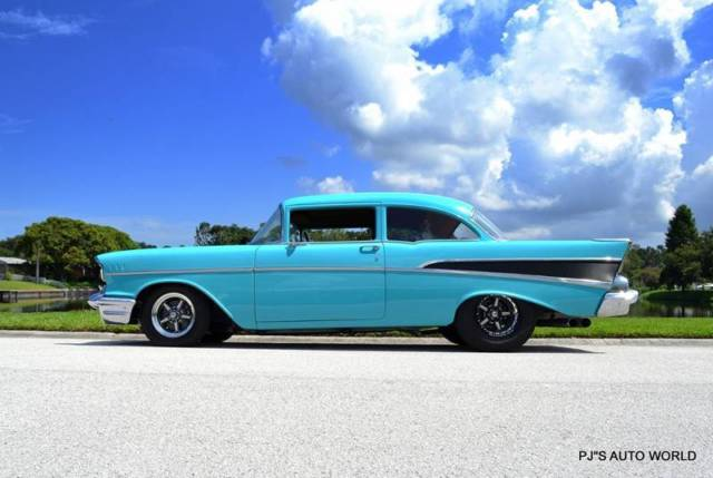 1957 Chevrolet 210 V8 Twin Turbo Super Chevy Magazine Car 15 829 Miles Turquoise For Sale