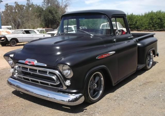 1957 chevrolet truck 3100 big window short bed hot rod black chevy 1 2 ton for sale chevrolet. Black Bedroom Furniture Sets. Home Design Ideas