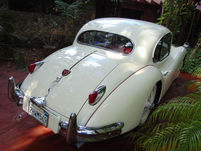 1957 jaguar xk 140 mc coupe old english white with red interior estate sale for sale. Black Bedroom Furniture Sets. Home Design Ideas