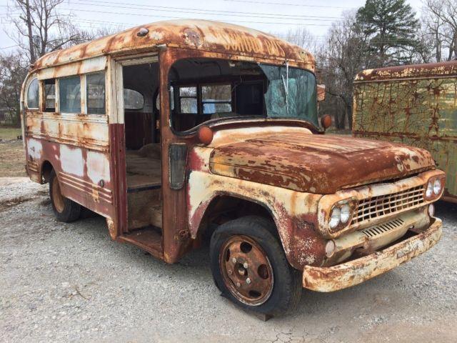 1958 3 window ford short school bus rat rod patina food