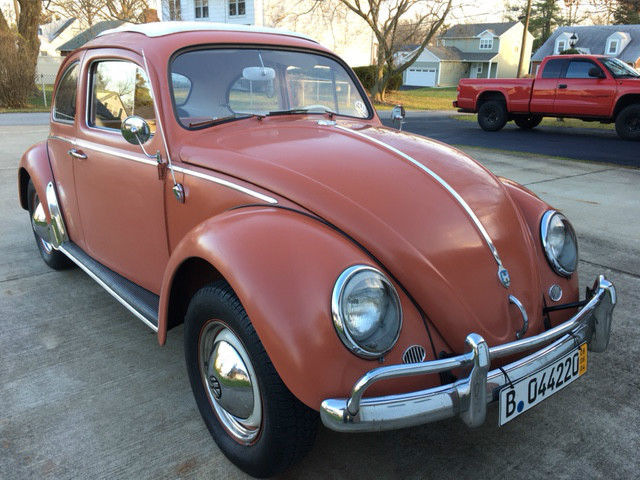 1960 coral red euro vw rag top beetle for sale volkswagen beetle classic 1960 for sale in. Black Bedroom Furniture Sets. Home Design Ideas