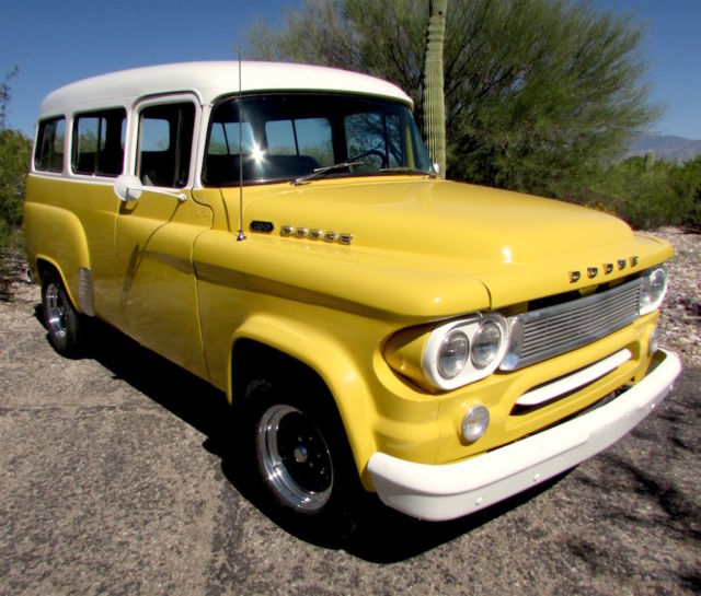 1963 dodge d 100 town wagon panel truck yellow white great inside out for sale. Black Bedroom Furniture Sets. Home Design Ideas