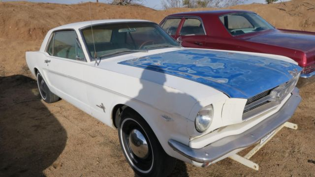 White 1966 Mustang Convertible With Blue Pony Interior