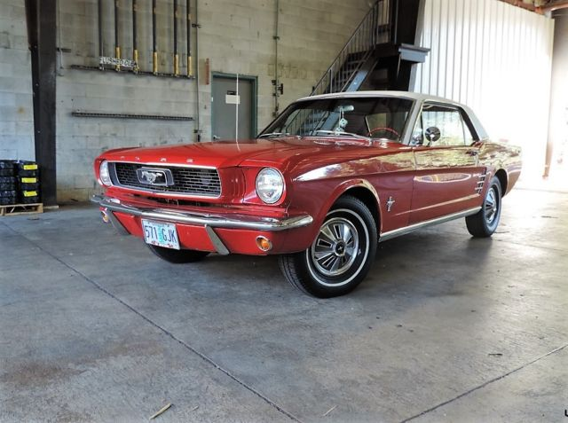 1966 Ford Mustang Red Coupe With White Vinyl Roof For Sale Ford Mustang 1966 For Sale In Seattle Washington United States