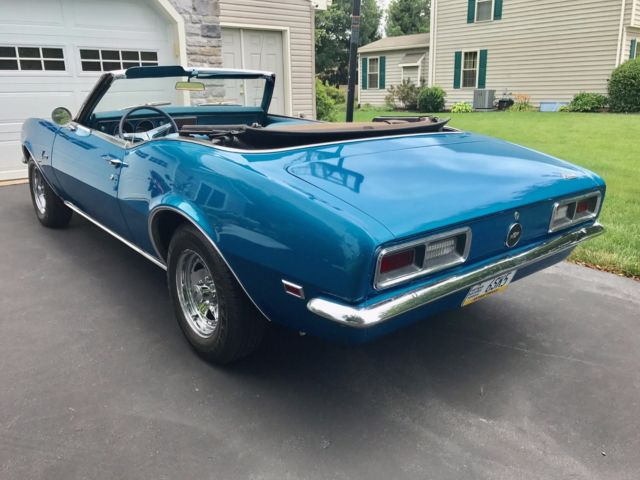 1968 chevy camaro convertible w matching 39 s blue 327 automatic for sale chevrolet camaro. Black Bedroom Furniture Sets. Home Design Ideas