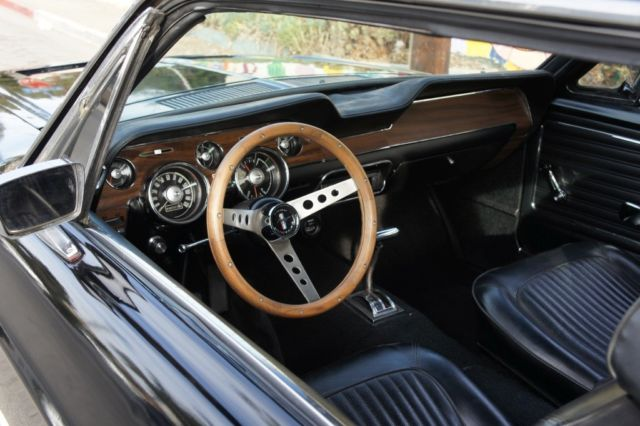 1968 ford mustang black on black brand new wheels wood interior for sale ford mustang 1968. Black Bedroom Furniture Sets. Home Design Ideas