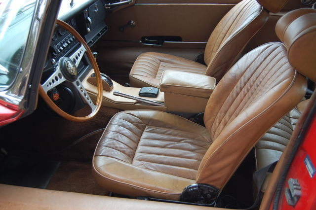 1969 jaguar xke e type 2 2 coupe automatic red with tan interior for sale jaguar e type xke 2. Black Bedroom Furniture Sets. Home Design Ideas