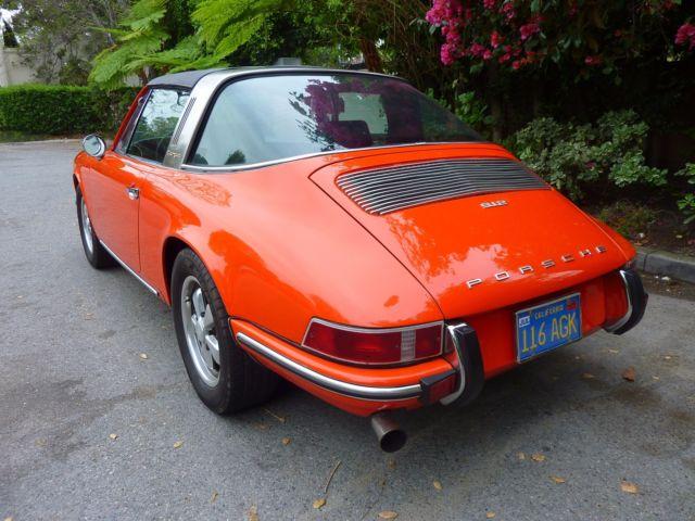 1969 porsche 912 targa tangerine orange fuchs wheels. Black Bedroom Furniture Sets. Home Design Ideas