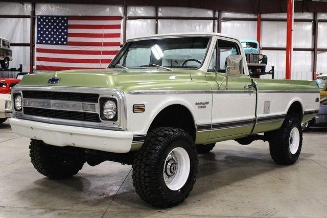 1970 chevrolet k 30 custom camper 8123 miles olive green pickup truck 350ci v8 a for sale. Black Bedroom Furniture Sets. Home Design Ideas