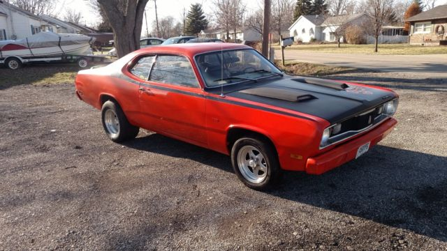 1970 plymouth duster orange and black 360 motor shaker cowl hood muscle car for sale plymouth. Black Bedroom Furniture Sets. Home Design Ideas
