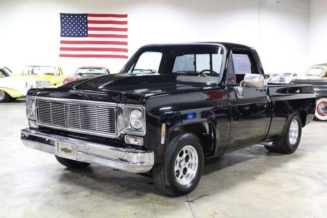 1975 chevrolet silverado 65359 miles black pickup truck 489 ci v8 400 turbo 3 s for sale. Black Bedroom Furniture Sets. Home Design Ideas