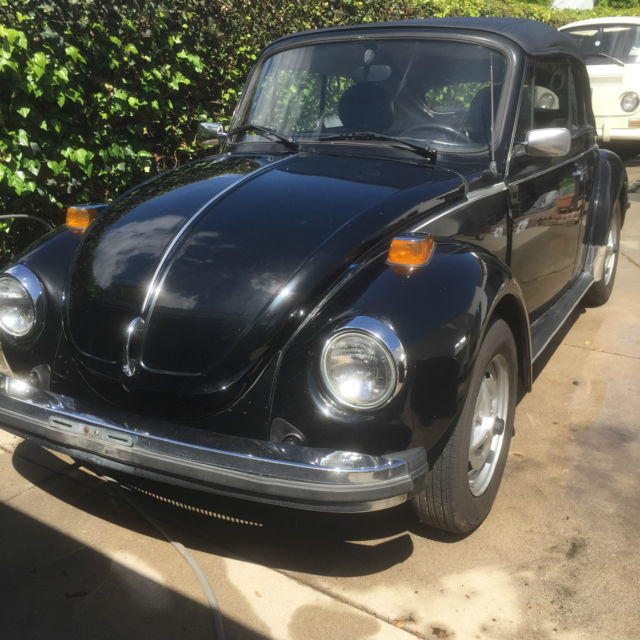 1979 vw super beetle convertible rare epilogue epilog edition triple black for sale. Black Bedroom Furniture Sets. Home Design Ideas