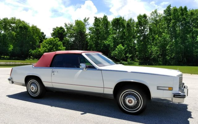 1984 cadillac eldorado convertible low mi rare car white red no reserve for sale cadillac. Black Bedroom Furniture Sets. Home Design Ideas