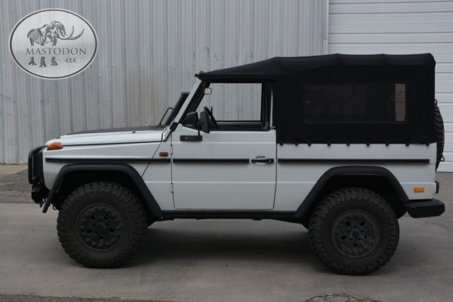 1986 white g wagon 4x4 cabrio turbo diesel 4 speed manual for sale mercedes benz g class g. Black Bedroom Furniture Sets. Home Design Ideas