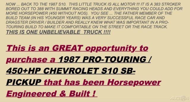 1987 Chevrolet S10 Pickup Pro-Touring Automatic 388 Stroker V8 for