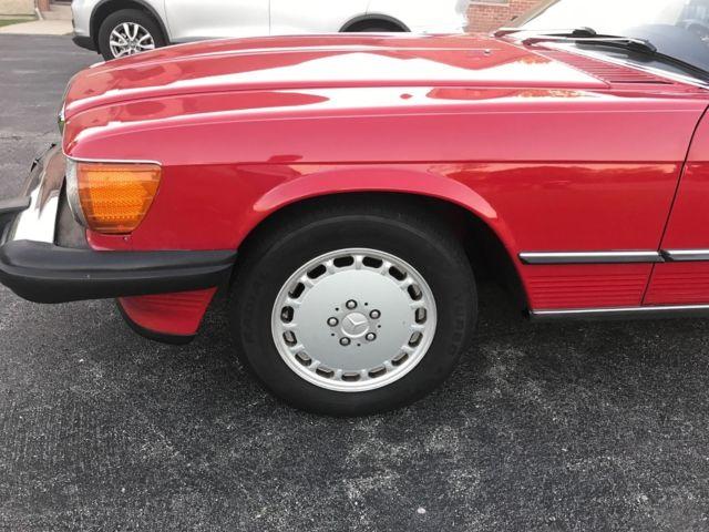 1988 mercedes benz 560sl signal red black interior very nice car 7 87 build date for sale. Black Bedroom Furniture Sets. Home Design Ideas