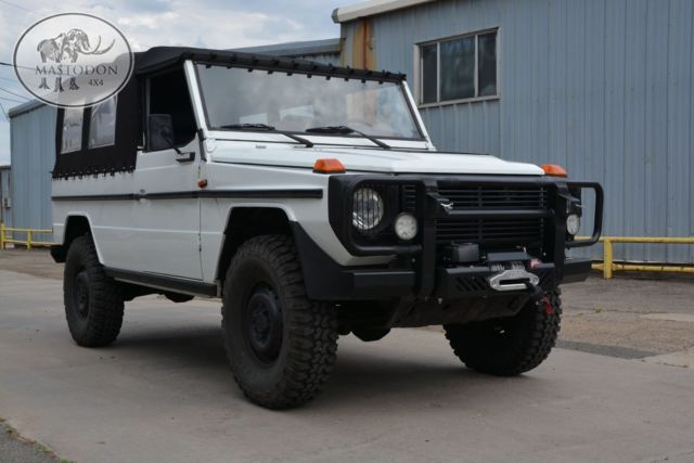 1988 white cabrio g wagon g class 240gd diesel 4x4 soft top for sale mercedes benz g class. Black Bedroom Furniture Sets. Home Design Ideas