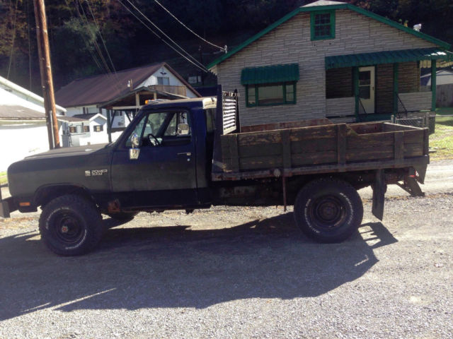 1990 Dodge Power Ram W350 4x4 360 Gas 4 spd Manual Steel Flat Bed Dana 60s for sale - Dodge ...