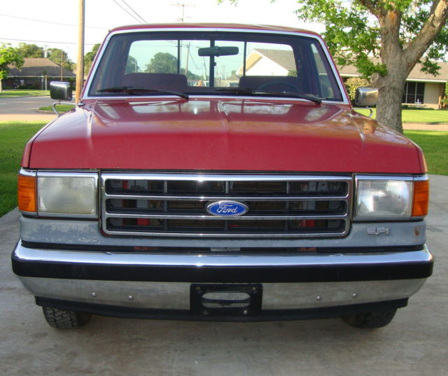 1990 ford f 150 lariat xlt pickup truck 5 0 v8 automatic red silver for sale ford f 150 1990. Black Bedroom Furniture Sets. Home Design Ideas