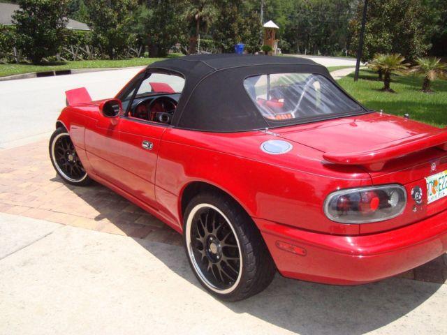 1993 mazda miata mx 5 red convertible manual 5 speed. Black Bedroom Furniture Sets. Home Design Ideas