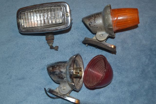 3 VINTAGE CAR OR TRUCK TAIL LIGHTS,UN-TESTED ,AS IS ,PARTS