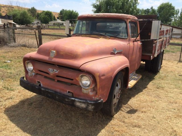 56 ford f 500 flatbed truck 272 y block 2 speed rearend runs good nice for sale ford f 100. Black Bedroom Furniture Sets. Home Design Ideas