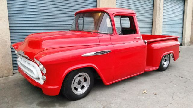 57 chevy truck v8 auto original red power steering disc brakes air ride for sale. Black Bedroom Furniture Sets. Home Design Ideas