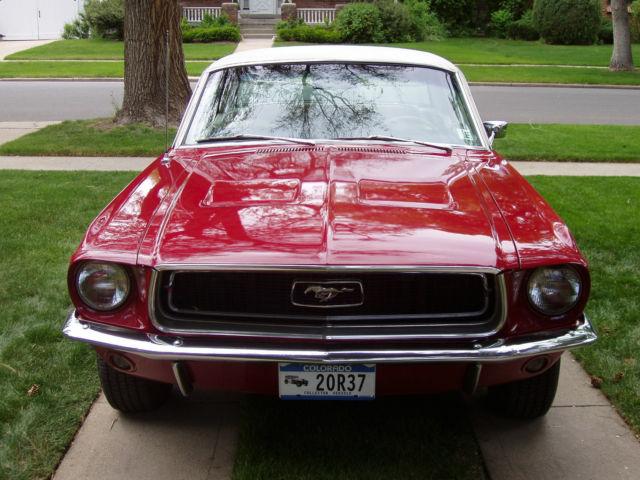 beautiful red 1968 mustang hardtop 289 2nd owner original denver car no rust for sale ford. Black Bedroom Furniture Sets. Home Design Ideas
