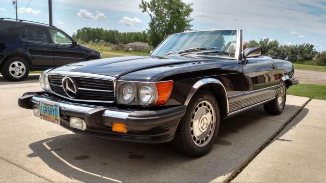 Black 1987 mercedes 560sl roadster convertible hardtop 5 6 for Black owned mercedes benz dealerships