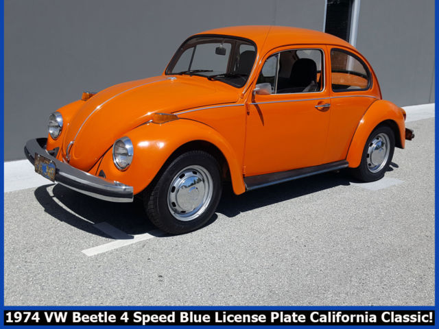 GROOVY 1974 VOLKSWAGEN VW BEETLE! BLUE LICENSE PLATE CALIFORNIA CLASSIC BUG! for sale ...