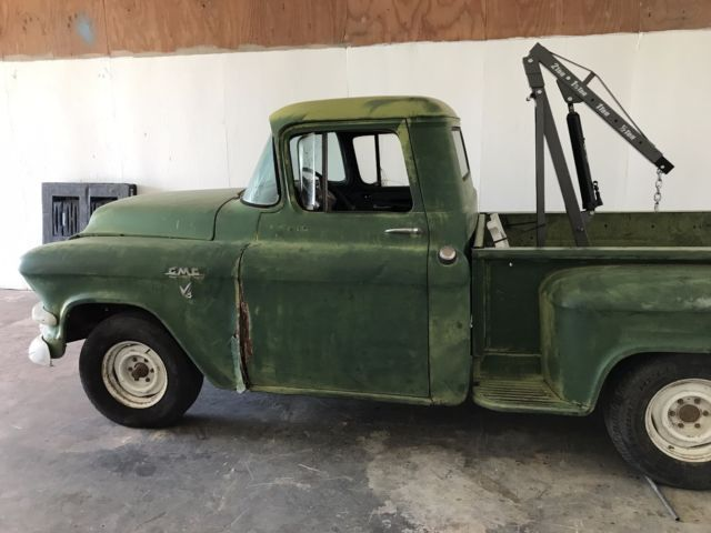 rare 1956 gmc v8 1 2 ton short bed project barn find chevy truck apache cameo for sale gmc 101. Black Bedroom Furniture Sets. Home Design Ideas