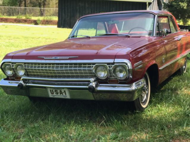 red 1963 chevy impala ss small block v8 auto powerglide for sale chevrolet impala 1963 for. Black Bedroom Furniture Sets. Home Design Ideas