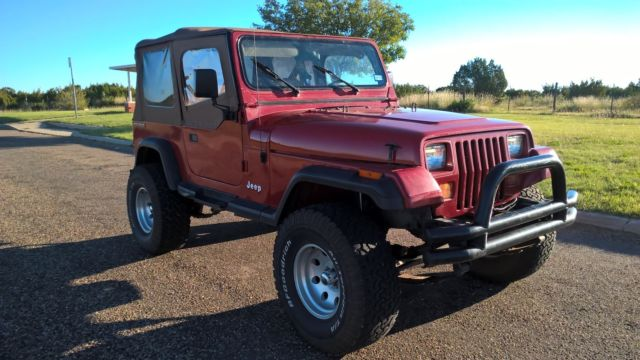 red soft top 1988 jeep wrangler 4x4 straight six good running condition for sale jeep. Black Bedroom Furniture Sets. Home Design Ideas