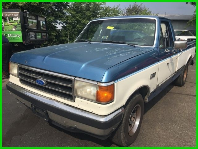 used 90 ford f150 xlt lariat 4 9l i6 rwd pickup truck blue gray cloth no reserve for sale ford. Black Bedroom Furniture Sets. Home Design Ideas
