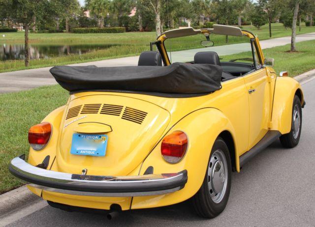 volkswagen super beetle convertible 1975 yellow w black top and tweed interior for sale. Black Bedroom Furniture Sets. Home Design Ideas