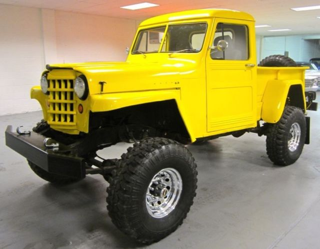 yellow 1953 jeep willys overland custom 4x4 pickup truck v8 305 no reserve for sale willys. Black Bedroom Furniture Sets. Home Design Ideas